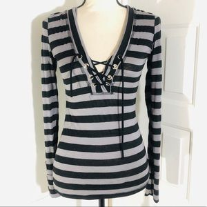 DAYTRIP Plunging Lace-Up Hooded Striped Blouse